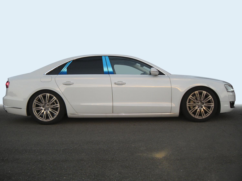 【最鏡面】アウディ A8 4HC*** ステンレスピラー鏡面HYPERブルー ピラー/アウディ/車/車パーツ/ピラーパネル/ステンレス/高品質/送料込み