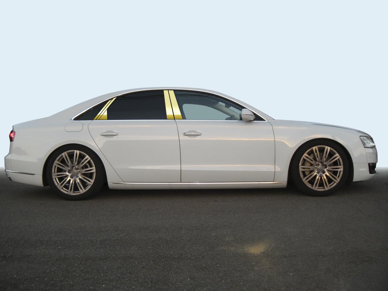 【最鏡面】アウディ A8 4HC*** ステンレスピラー鏡面HYPERゴールド ピラー/アウディ/車/車パーツ/ピラーパネル/ステンレス/高品質/送料込み