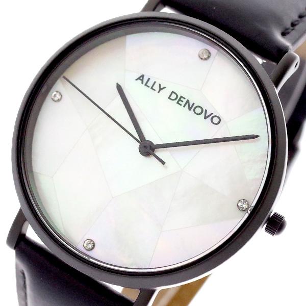 (~4/30)【キャッシュレス5%】アリーデノヴォ ALLY DENOVO 腕時計 AF5003.4 GAIA PEARL クォーツ ホワイトシェル ブラック レディース