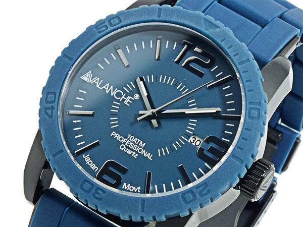 (~4/30)【キャッシュレス5%】アバランチ AVALANCHE 腕時計 AV-1024-BUBK ネイビー×ブラック メンズ