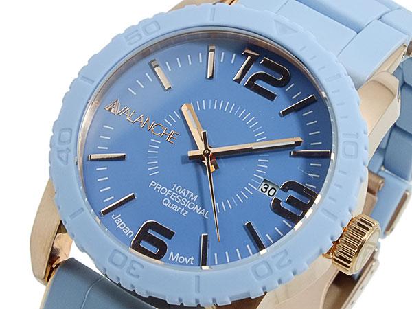 (~4/30)【キャッシュレス5%】アバランチ AVALANCHE 腕時計 AV-1024-BURG ライトブルー×ローズゴールド メンズ