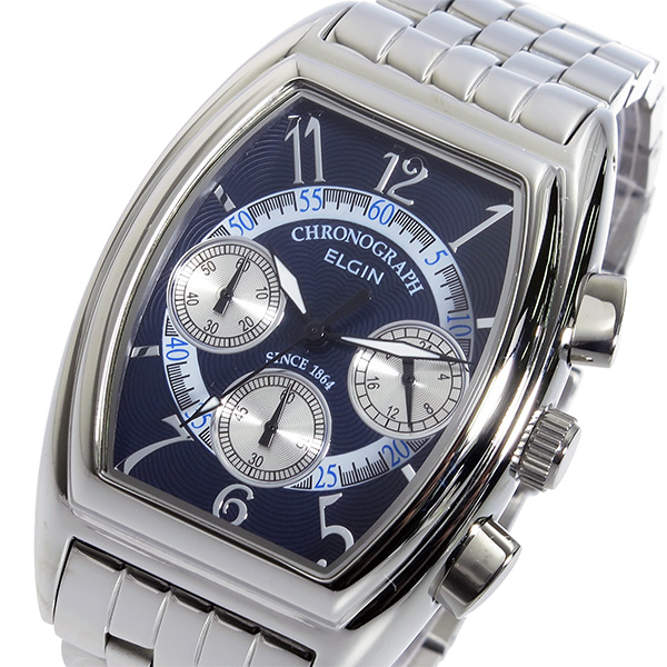 【大感謝祭】(~12/26 01:59)(~12/25)【キャッシュレス5%】エルジン ELGIN クオーツ クロノグラフ 腕時計 FK1403S-BL ダークブルー メンズ