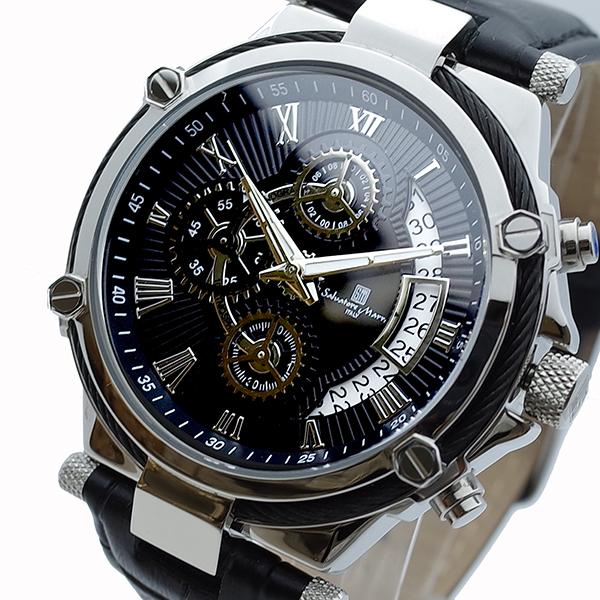 【スーパーSALE】(~9/11 01:59)(?9/30) サルバトーレマーラ SALVATORE MARRA 腕時計 SM18102-SSBK クォーツ ブラック メンズ