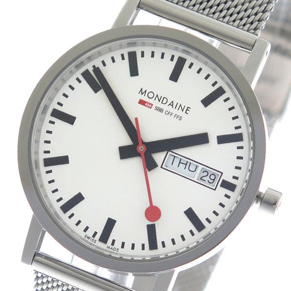 【期間限定】【エントリーでポイント3倍×ポイントアップ2倍】(7/21 10:00~7/24 09:59) モンディーン MONDAINE クオーツ 腕時計 A6673031411SBM ホワイト/シルバー メンズ