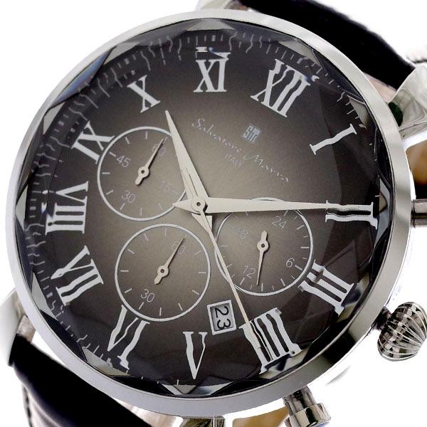 【スーパーSALE】(~9/11 01:59)(~9/30)サルバトーレマーラ SALVATORE MARRA 腕時計 メンズ SM19104-SSBK クォーツ グレー ブラック