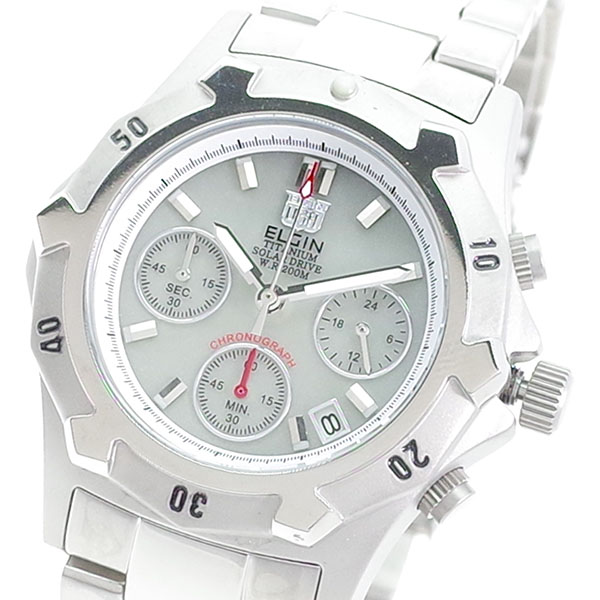 (~8 FK1425TI-BR/31) メンズ エルジン ELGIN 腕時計 FK1425TI-BR 腕時計 クォーツ ライトグレー シルバー メンズ, 草津町:b283d0f1 --- officewill.xsrv.jp