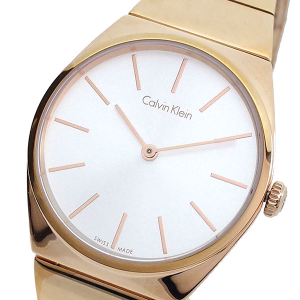 (~4/30)【キャッシュレス5%】カルバンクライン CALVIN KLEIN 腕時計 K6C2X646 クォーツ ホワイト ピンクゴール レディース