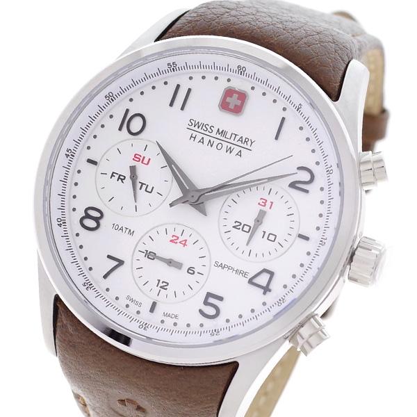 【スーパーSALExポイントアップ】(3/4 20:00~3/11 01:59)【ポイント5倍】(~3/31)【キャッシュレス5%】スイスミリタリー SWISS MILITARY 腕時計 ML-456 クォーツ ホワイト ブラウン 国内正規 メンズ