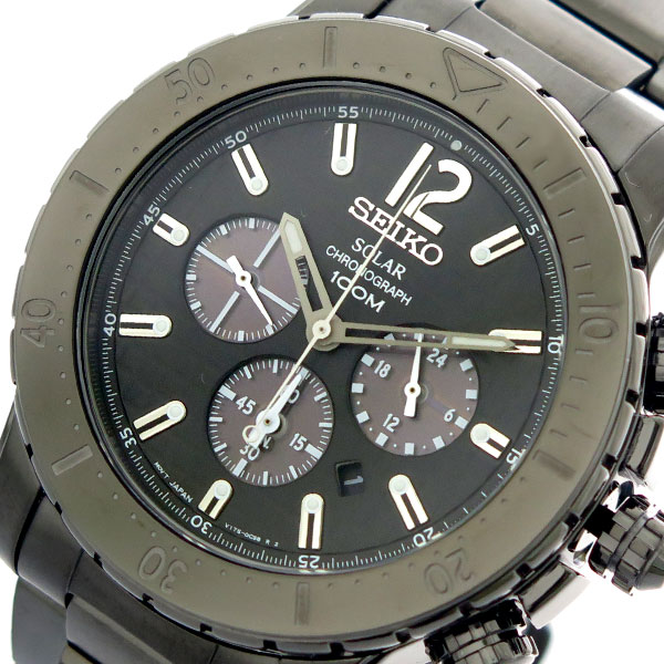 (~4/30)【キャッシュレス5%】セイコー SEIKO 腕時計 SSC225P1 クォーツ ブラック メンズ
