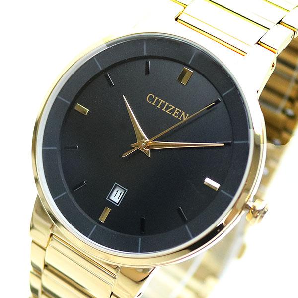 【スーパーSALE】(~9/11 01:59)(~9/30)シチズン CITIZEN 腕時計 BI5012-53E クォーツ ブラック ゴールド メンズ