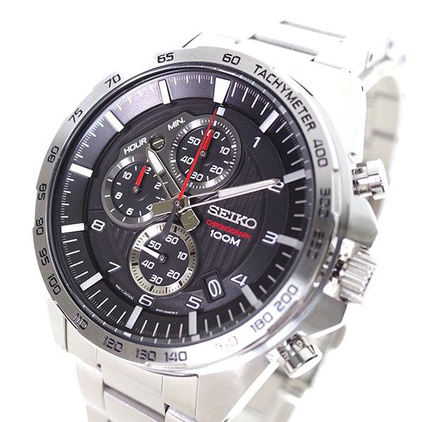 (~4/30)【キャッシュレス5%】セイコー SEIKO 腕時計 SSB319P クォーツ ブラック シルバー メンズ