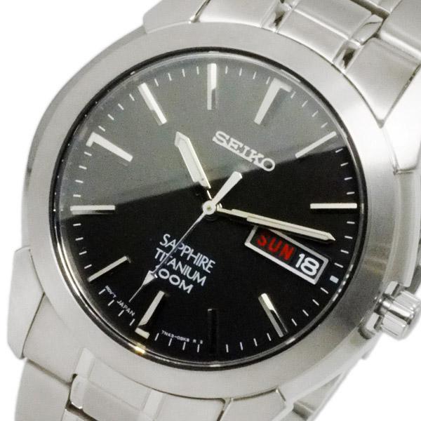 【スーパーSALE】(~9/11 01:59)(~9/30)セイコー SEIKO クオーツ チタン 腕時計 SGG731P1 ブラック メンズ