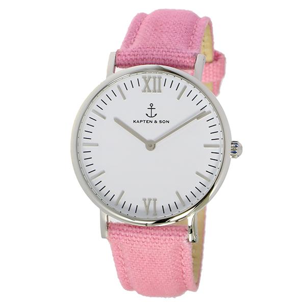 【ポイント2倍】(~4/30 23:59) キャプテン&サン KAPTEN&SON 36mm ホワイト/ピンクキャンバス 腕時計 SV-KS36WHPCレディース