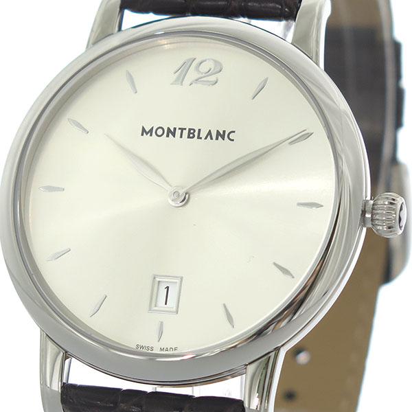 (~4/30)【キャッシュレス5%】モンブラン MONTBLANC スター STAR クオーツ 腕時計 108770 シルバー/ダークブラウン シルバー メンズ 【代引き不可】