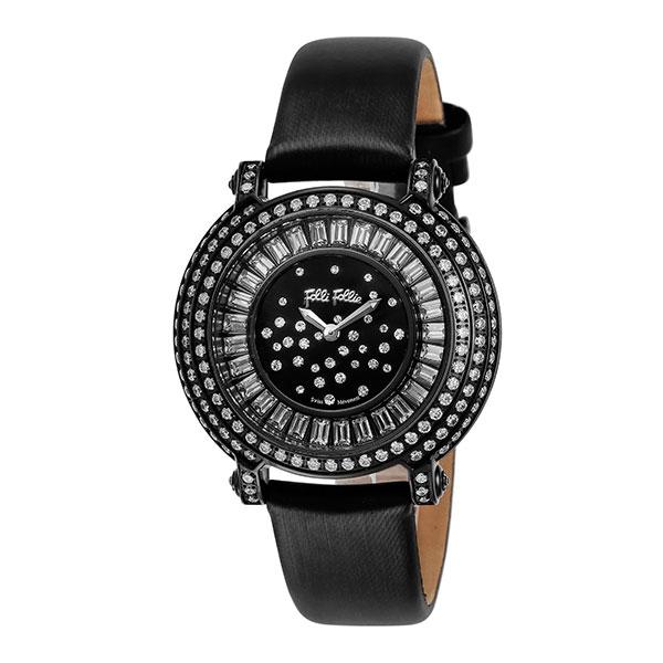 【スーパーSALE】(~9/11 01:59)(~9/30)フォリフォリ FOLLI FOLLIE 腕時計 WF0E054SSK-BK クォーツ ブラック レディース