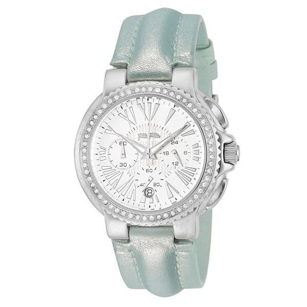 (~4/30)【キャッシュレス5%】フォリフォリ FOLLI FOLLIE 腕時計 WF6A003SEW-LB クォーツ ホワイト ライトブルー レディース