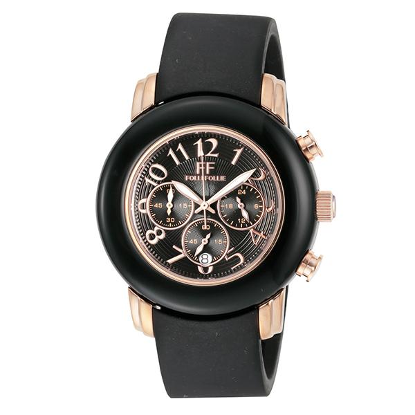 【スーパーSALE】(~9/11 01:59)(~9/30)フォリフォリ FOLLI FOLLIE 腕時計 WF9R001ZEK-BK クォーツ ブラック レディース
