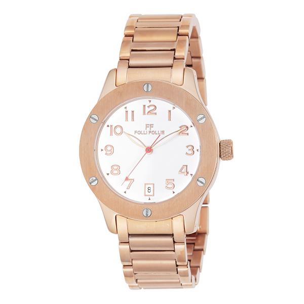 【スーパーSALE】(~9/11 01:59)(~9/30)フォリフォリ FOLLI FOLLIE 腕時計 WT6R042BDW-XX クォーツ ホワイト ピンクゴールド レディース