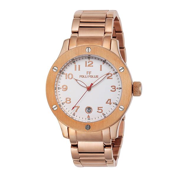 (~4/30)【キャッシュレス5%】フォリフォリ FOLLI FOLLIE 腕時計 WT6R043BDW-XX クォーツ ホワイト ピンクゴールド レディース