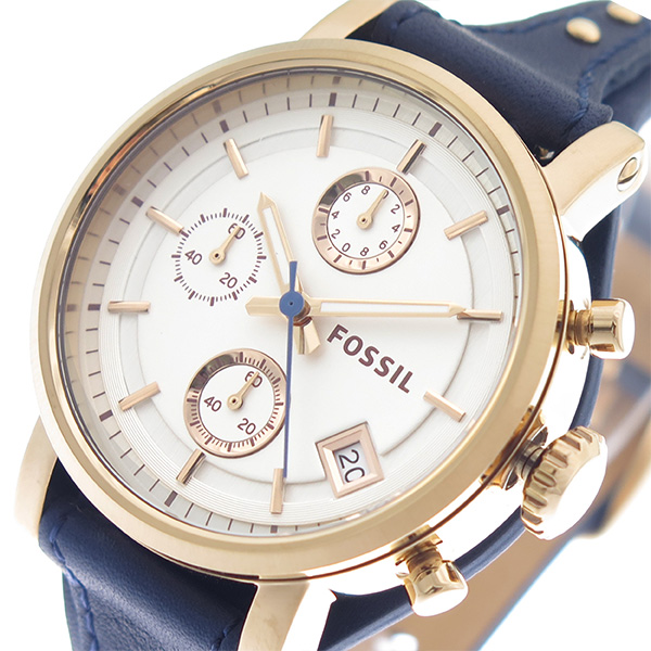 (~4/30)【キャッシュレス5%】フォッシル FOSSIL 腕時計 ES3838 シルバー ネイビー レディース