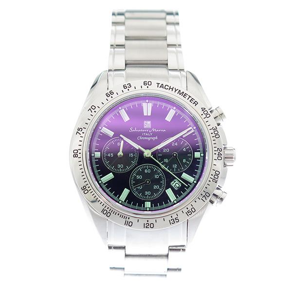 【お買い物マラソンxポイントアップ 】(~3/26 01:59) サルバトーレマーラ SALVATORE MARRA 腕時計 SM18106-SSBKSV カラーガラス ブラック シルバー メンズ