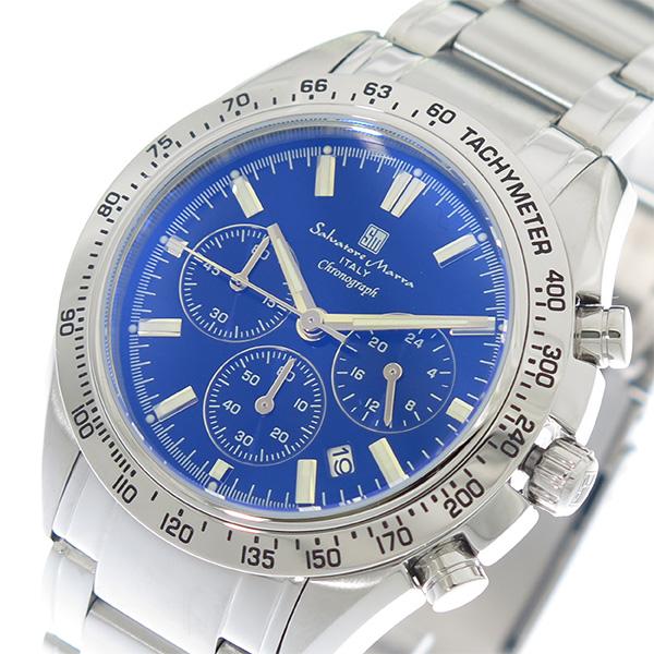 (~4/30)【キャッシュレス5%】サルバトーレマーラ SALVATORE MARRA 腕時計 SM18106-SSBLSV カラーガラス ブルー シルバー メンズ