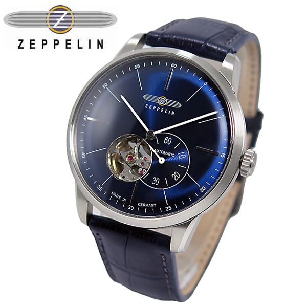 (~4/30)【キャッシュレス5%】ツェッペリン ZEPPELIN フラットライン 自動巻き 腕時計 7364-3 ネイビー メンズ