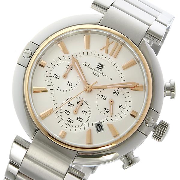 【期間限定】(~9/1 23:59) サルバトーレマーラ SALVATORE MARRA クロノグラフ クオーツ 腕時計 SM17106-PGWH ホワイト/ピンクゴールド メンズ