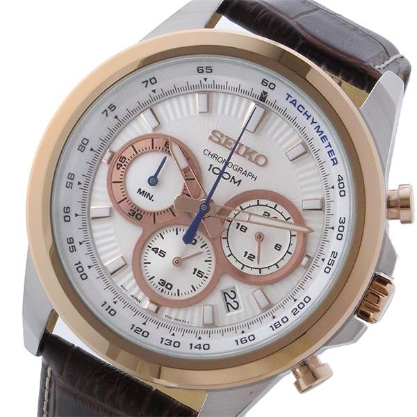 【スーパーSALE】(~9/11 01:59)(~9/30)セイコー SEIKO クロノグラフ クオーツ 腕時計 SSB250P1 ホワイト メンズ