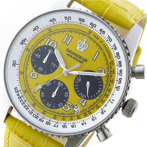 高い品質 (~8/31) グランドール GRANDEUR 日本製 made in japan 日本製 クロノグラフ クオーツ GRANDEUR クオーツ 腕時計 JOSC028W3 イエロー メンズ, 紳士服のミツヤ:6cf1aaa3 --- clifden10k.com