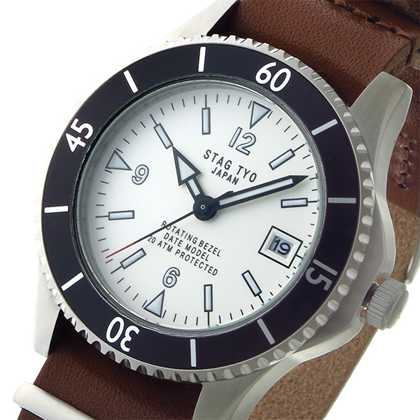 割引クーポン (~8/31) スタッグ TYO STAG TYO スタッグ クオーツ 腕時計 STG018S1 腕時計 ホワイト メンズ, まんてんショップ:ccf50309 --- clifden10k.com