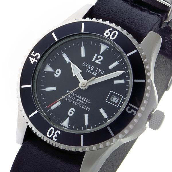 (~8 スタッグ/31) スタッグ STAG TYO クオーツ 腕時計 STG018S2 クオーツ STG018S2 ブラック メンズ, ナチュラム:04180eaf --- officewill.xsrv.jp
