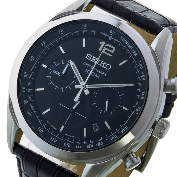 (~8/31) セイコー SEIKO クロノグラフ セイコー クオーツ 腕時計 クオーツ SSB097P1 SEIKO ブラック メンズ, BROOM  革バッグかばん:d4dceeb1 --- officewill.xsrv.jp