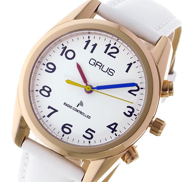 (~4/30)【キャッシュレス5%】グルス GRUS ボイス 電波 腕時計 トーキングウォッチ クオーツ GRS003-05 ホワイト/ピンクゴールド レディース
