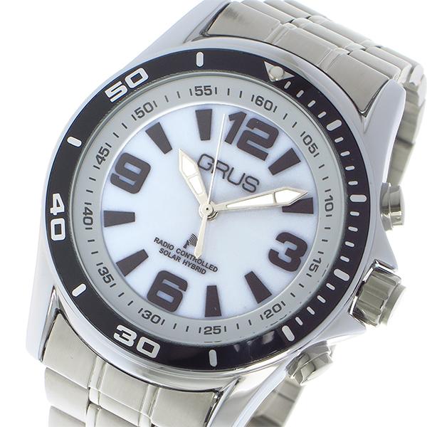 (~4/30)【キャッシュレス5%】グルス GRUS ボイス 電波 腕時計 ソーラー トーキングウォッチ クオーツ GRS004-01 ホワイト/シルバー メンズ
