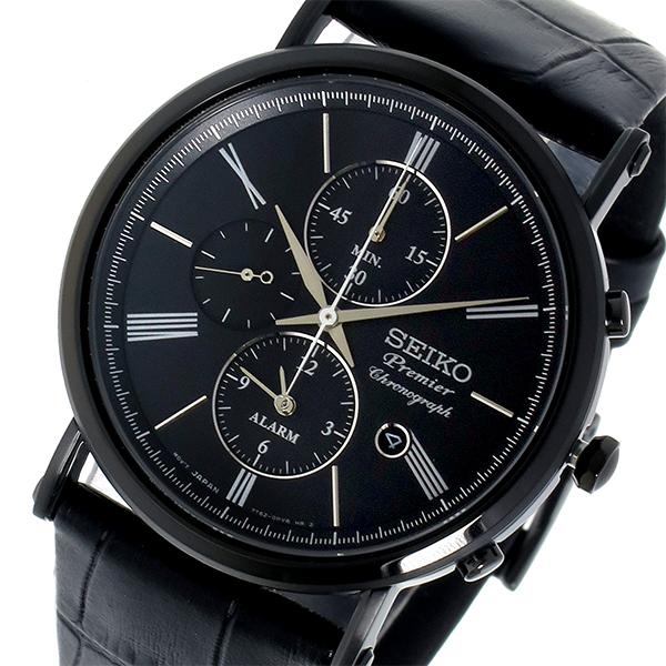 【スーパーSALE】(~9/11 01:59)(~9/30)セイコー SEIKO プルミエ Premier クロノグラフ クオーツメンズ 腕時計 SNAF79P1 ブラック メンズ