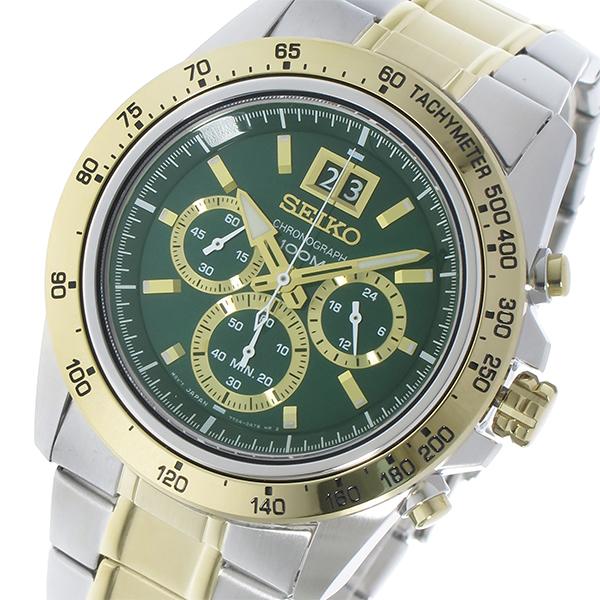 (~4/30)【キャッシュレス5%】セイコー SEIKO クロノグラフ クオーツメンズ 腕時計 SPC230P1 グリーン メンズ