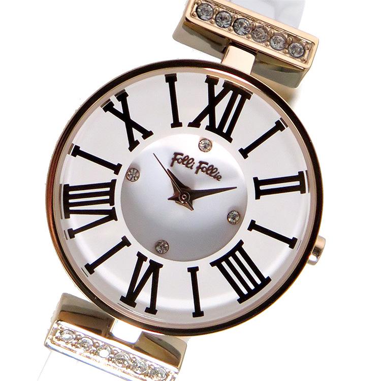 【スーパーSALE】(~9/11 01:59)(~9/30)フォリフォリ FOLLI FOLLIE クオーツ 腕時計 WF15B028BSZ ホワイト レディース