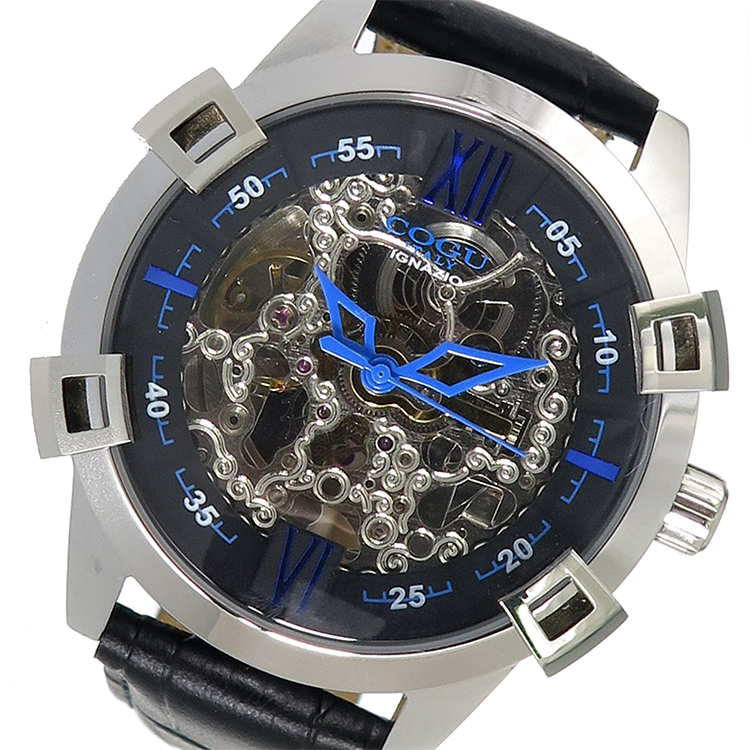 【スーパーSALE】(~9/11 01:59)(~9/30)コグ COGU 自動巻き 腕時計 SKN2-BL ブラック メンズ