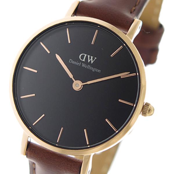 (~8 腕時計/31) レディース ダニエル Wellington ウェリントン Daniel Wellington クラッシックペティット クオーツ 腕時計 DW00100225 ブラック/ブラウン レディース, 東国東郡:e53076bb --- officewill.xsrv.jp