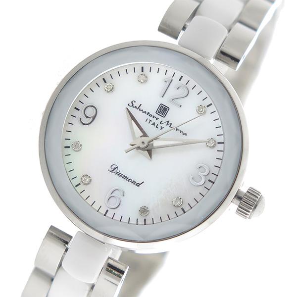 (~4/30)【キャッシュレス5%】サルバトーレマーラ SALVATORE MARRA クオーツ 腕時計 SM17153-SSWHA ホワイトシェル レディース
