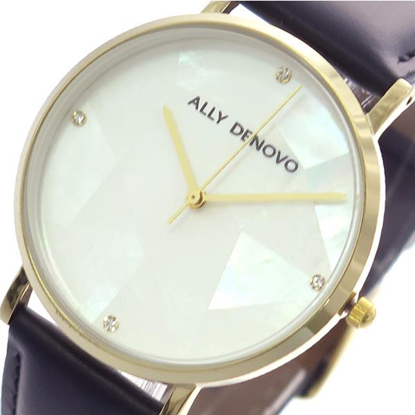 (~4/30)【キャッシュレス5%】アリーデノヴォ ALLY DENOVO 腕時計 36mm AF5003-8 GAIA PEARL クォーツ ホワイトシェル ブラック レディース