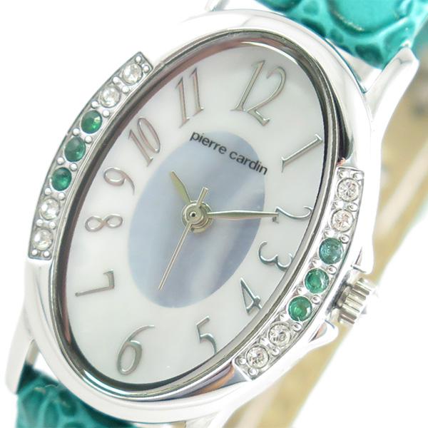 (~4/30)【キャッシュレス5%】ピエールカルダン PIERRE CARDIN 腕時計 PC-794 クォーツ ソーラー ホワイトシェル グリーン レディース