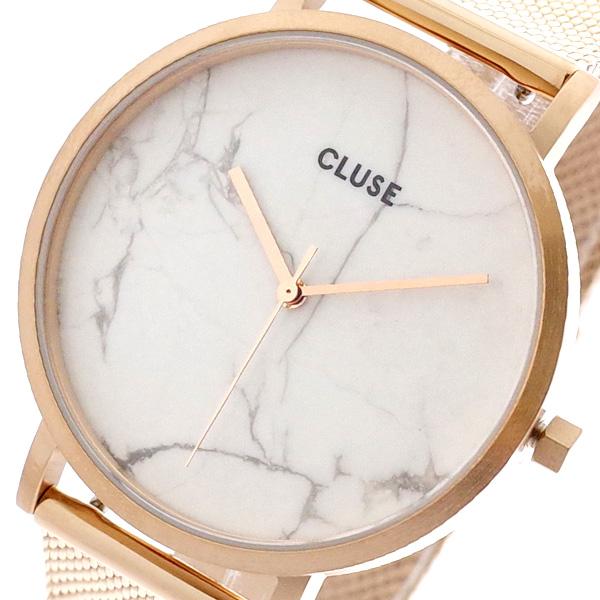 【スーパーSALE】(~9/11 01:59)(~9/30)クルース CLUSE 腕時計 CL40007 クォーツ ホワイトマーブル ピンクゴールド レディース