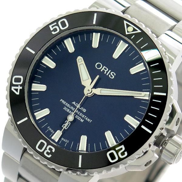 (~4/30)【キャッシュレス5%】オリス ORIS 腕時計 73377304135M アクイス AQUIS 自動巻き ネイビー シルバー メンズ 【代引き不可】