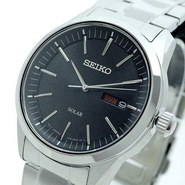 【スーパーSALE】(~9/11 01:59)(~9/30)セイコー SEIKO 腕時計 SNE527P1 SEIKO SOLAR クォーツ ブラック シルバー メンズ