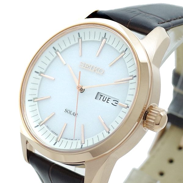 【スーパーSALE】(~9/11 01:59)(~9/30)セイコー SEIKO 腕時計 SNE530P1 SEIKO SOLAR クォーツ ホワイト ブラウン メンズ