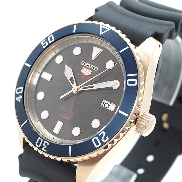 (~8/31) セイコー SEIKO 腕時計 腕時計 SRPB96K1 SRPB96K1 SEIKO5 (~8/31) 自動巻き ピンクゴールド ブラック メンズ, 小田郡:0fa2713a --- officewill.xsrv.jp