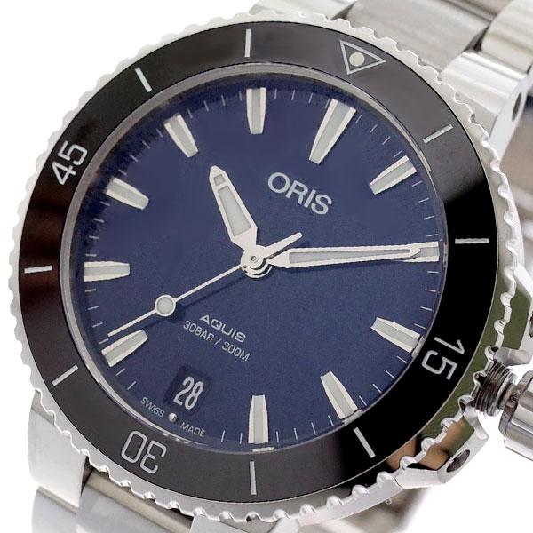 (~4/30)【キャッシュレス5%】オリス ORIS 腕時計 73377314135M AQUIS 自動巻き ネイビー シルバー レディース 【代引き不可】