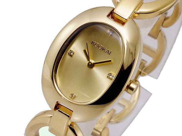 【大感謝祭】(~12/26 01:59)(~12/25)【キャッシュレス5%】クーカイ KOOKAI クオーツ 腕時計 1680-0004 ゴールド レディース